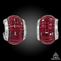 VAN CLEEF & ARPELS Two-Tone Diamond Mystery-Set Ruby Ear Clips