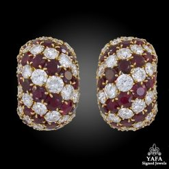 VAN CLEEF & ARPELS Diamond, Ruby Bombe-Style Earrings