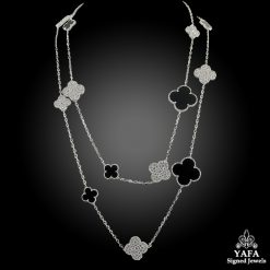 VAN CLEEF & ARPELS Diamond, Onyx Magic Alhambra Necklace