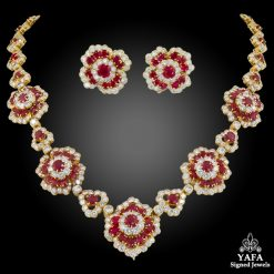 VAN CLEEF & ARPELS Diamond, Ruby Flower Motif Necklace & Ear Clips