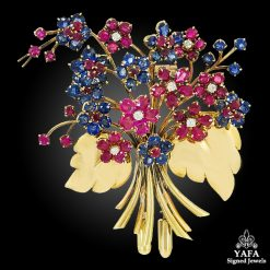 VAN CLEEF & ARPELS Diamond, Ruby & Sapphire Hawaii Bouquet Brooch