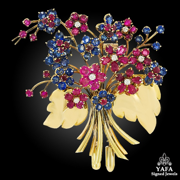 VAN CLEEF & ARPELS Bouquet Hawaii Early Clip Brooch