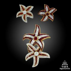 HARRY WINSTON Two-Tone Diamond, Ruby Starfish Brooch and Ear Clips