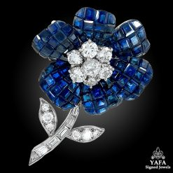 VAN CLEEF & ARPELS Diamond & Mystery-Set Sapphire Flower Brooch