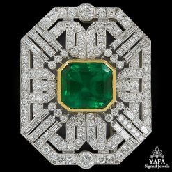 Deco-Style Colombian Emerald Diamond Brooch