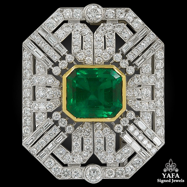 18k Two-Tone Diamond & Colombian Emerald Brooch
