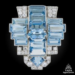 CARTIER Aquamarine & Diamond Brooch