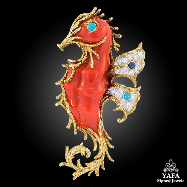 CARTIER Diamond, Turquoise and Sapphire Seahorse Brooch