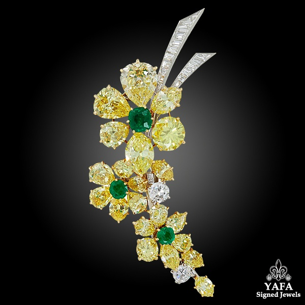 VAN CLEEF & ARPELS Fancy Intense Yellow Diamond, Emerald Brooch & Earrings