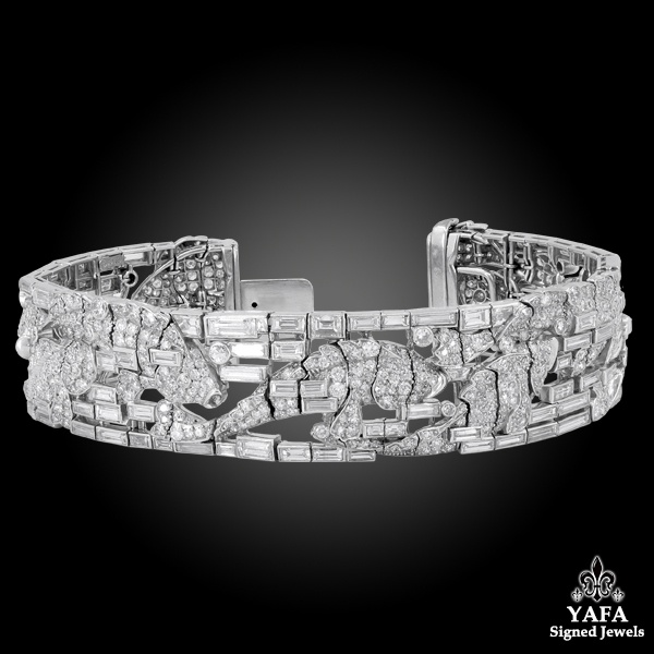 HARRY WINSTON Platinum Diamond Fish Motif Bracelet