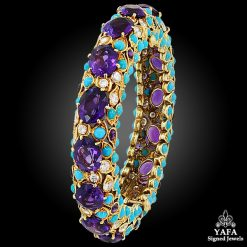 VAN CLEEF & ARPELS Diamond, Amethyst, Turquoise Bangle