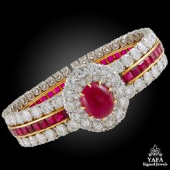 VAN CLEEF & ARPELS Cabochon Ruby, Diamond Bangle Bracelet
