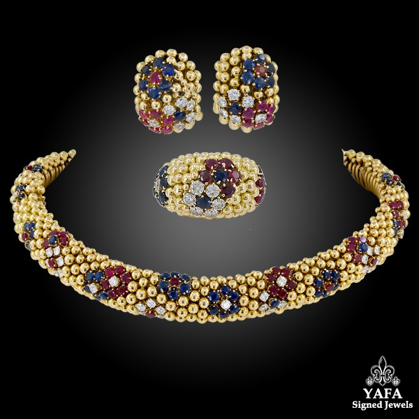 VAN CLEEF & ARPELS Bagatelle Sapphire Ruby Diamond Convertible Suite