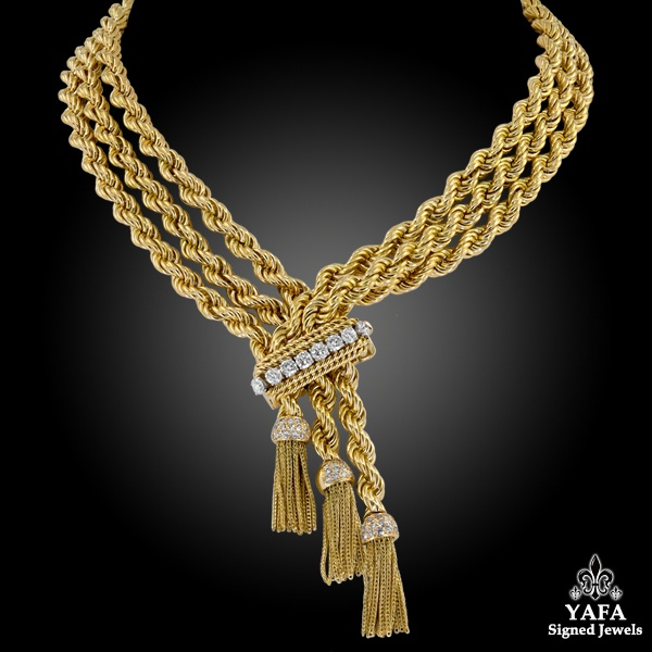 VAN CLEEF & ARPELS Diamond Tassel Rope Necklace