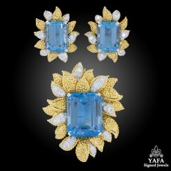 VAN CLEEF & ARPELS Aquamarine, Diamond Brooch Suite