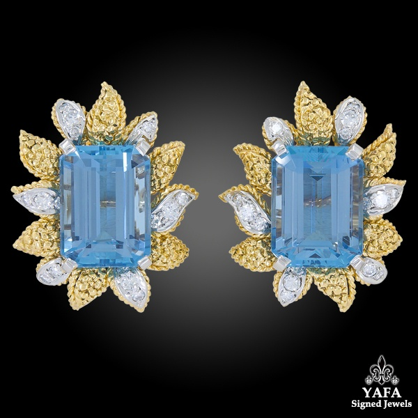 VAN CLEEF & ARPELS Aquamarine Flower Brooch Earrings Suite