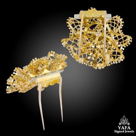 VAN CLEEF & ARPELS Diamond Retro Dentelle Two Brooches