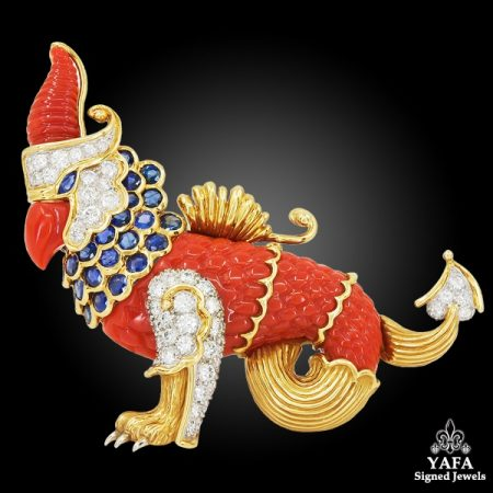 CARTIER Diamond, Sapphire & Carved Coral Griffin Brooch