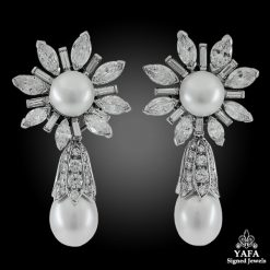 VAN CLEEF & ARPELS Diamond, Cultured Pearl Ear Clips