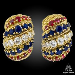 BULGARI Diamond, Sapphire, Ruby Ear Clips