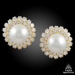 VAN CLEEF & ARPELS Cultured Pearl, Diamond Ear Clips