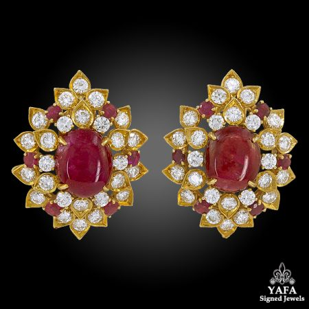 VAN CLEEF & ARPELS Diamond, Cabochon Ruby Earrings