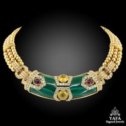 CHAUMET Diamond, Malachite, Cabochon Ruby & Sapphire Necklace