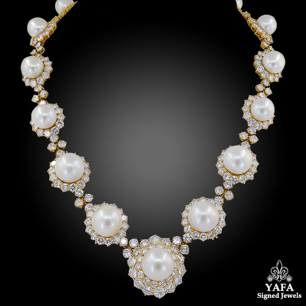 VAN CLEEF & ARPELS Diamond, Pearl Necklace