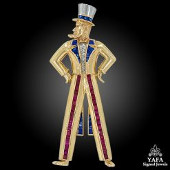 VAN CLEEF & ARPELS Diamond, Ruby & Sapphire Uncle Sam Brooch