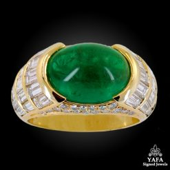 BULGARI Diamond, Cabochon Emerald Ring