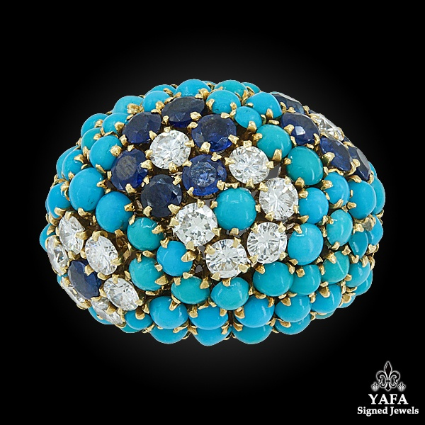 VAN CLEEF & ARPELS Diamond, Turquoise, Sapphire Dome Ring
