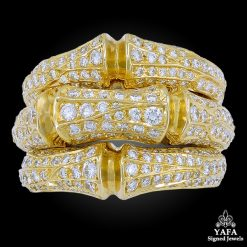 CARTIER Diamond Bamboo Three Row Ring