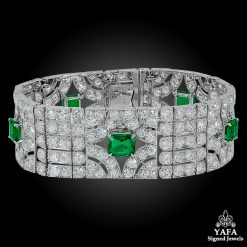 VAN CLEEF & ARPELS Diamond Emerald Deco Bracelet Platinum