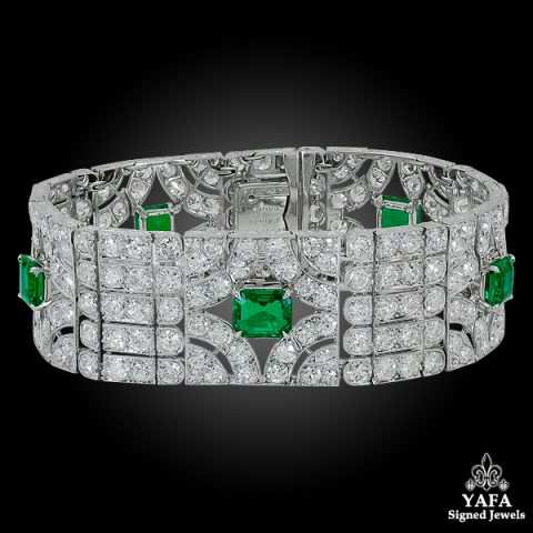 VAN CLEEF & ARPELS Diamond Emerald Deco Bracelet