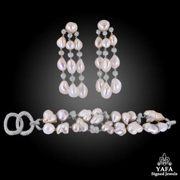 SABBADINI Diamond Pearl Bracelet Earrings Suite
