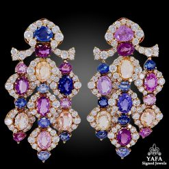 MARINA B. Diamond Multi-Color Sapphire Ear Clips