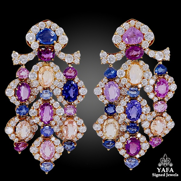 MARINA B. Diamond Multi-Color Sapphire Earrings