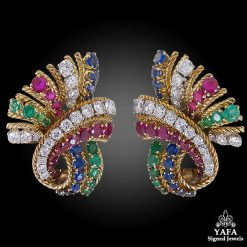 VAN CLEEF & ARPELS Diamond Sapphire Ruby Ear Clips