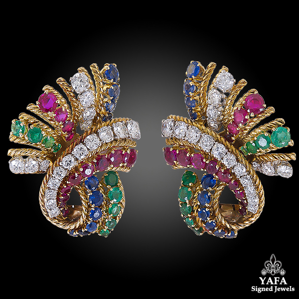 VAN CLEEF & ARPELS Diamond Sapphire Ruby Earrings