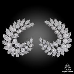Diamond Crescent Marquise Cluster Earrings