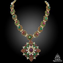 VAN CLEEF & ARPELS Diamond, Ruby, Emerald, Sapphire Beads and Pearl Necklace/Bracelet/Brooch