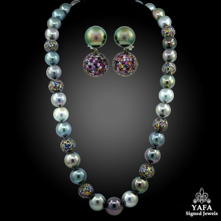HAUME Pearl Sapphire Necklace Earrings Suite
