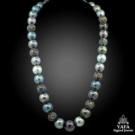 HAUME Pearl Sapphire Necklace Ear Clips Suite