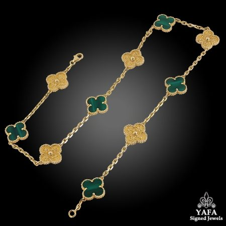 VAN CLEEF & ARPELS Limited Edition Malachite Alhambra Necklace