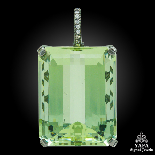 HAUME Green Beryl Diamond Pendant Brooch