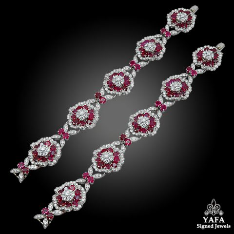 VAN CLEEF & ARPELS Diamond Ruby Camellia Convertible Bracelet Necklace