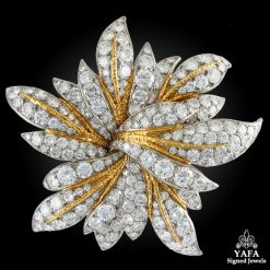 Van Cleef & Arpels Diamond Gold Floral Brooch