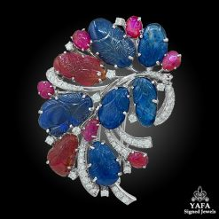 Carved Sapphire Ruby Diamond Flower Brooch