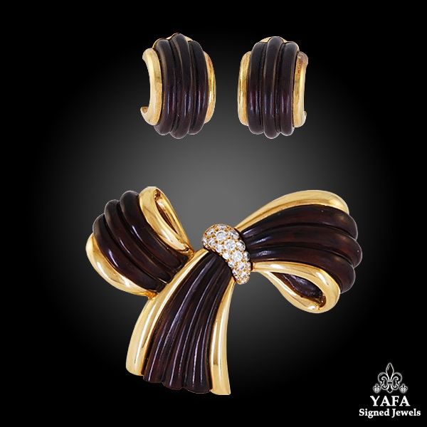 VAN CLEEF & ARPELS Diamond Wood Bow Brooch Earrings Suite