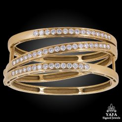 VAN CLEEF & ARPELS Diamond Gold Crossover Bangle